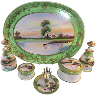 Vintage Meito China 6 Pc Porcelain Vanity /Dresser Set with Tray - Hand Painted