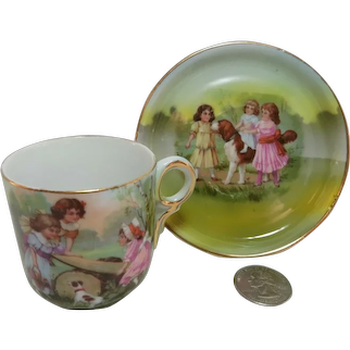 Antique Demitasse Porcelain Cup & Saucer - Hand Painted Children & Dogs