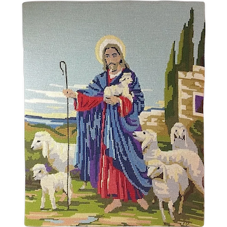 "Vintage Needlepoint Picture / Pillow Cover - ""JESUS WITH SHEEP"" 20""x16"""