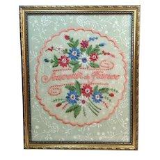 """WW11 1940's Souvenir Hand Embroidered Doily """"Souvenir de France"""""""