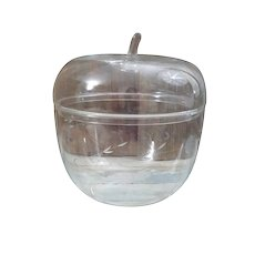 Vintage Princess House etched apple shaped glass cookie jar