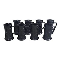 Indiana Glass Black Amethyst handled mug steins