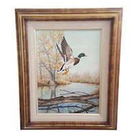 Mallard Duck oil on canvas painting signed EC Parr