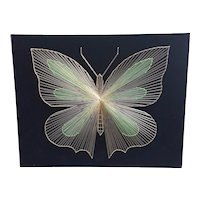 1970's Metallic String Art on Velvet Golden Butterfly
