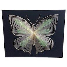 1970's Metallic String Art on Velvet Golden Butterfly