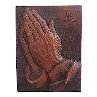 German art piece of Albrecht Durer praying hands hanging wall plaque