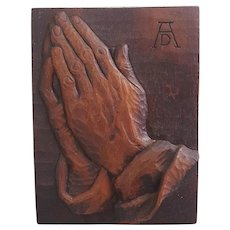 German art piece of Albrecht Durer praying hands hanging wall plaque