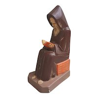 Mid Century Praying Monk plaster figurine