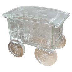 Imperial Glass Company Glass Pie Wagon Reber & Co. candy dish