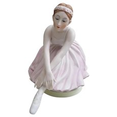 Beautiful Maruho Japan ceramic Ballerina music box, Swan Lake music box