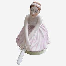 Beautiful Maruho Japan ceramic Ballerina music box, Swan Lake music box