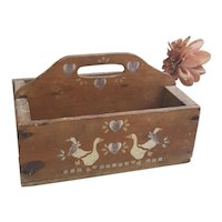 Old Country stenciled wooden handled box