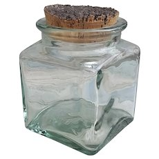 Mid Century Ben Ricket glass canister with cork lid