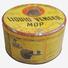 Early Century Liquid Veneer Mop tin, industrial can decor