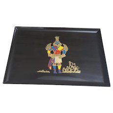 Kachina Couroc tray from Monterey California, black Couroc Hummingbird Kachina tray