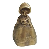 Brass lady bell with bonnet and flowers, brass bell lady figurine