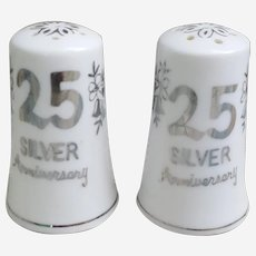 Silver 25th Anniversary salt and pepper shakers Norcrest