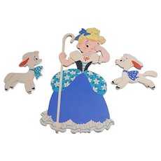 Mother Goose The Dolly Toy Co Pin Ups Little Bo Peep and sheep