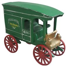Vintage McCallaster 1907 cast iron green truck wagon door stop-decor