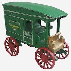 Vintage McCallaster 1907 cast iron green truck wagon door stop-decor