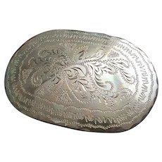 Beautiful vintage hand made etched brass belt buckle