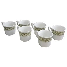 J&G Meakin Renaissance Green set of six cups, vintage Meakin mugs
