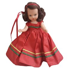 Nancy Ann Story Book doll, auburn hair red dress Nancy Ann doll
