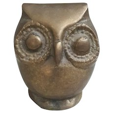 Mid Century Brass Owl figurine, old with patina brass Owl