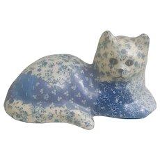 Folk Art Decoupaged Glazed Patchwork Cat Figurine