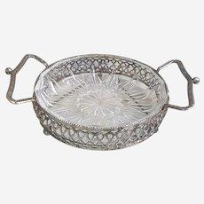 Beautiful vintage silver toned metal and glass Bon Bon tray