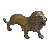 Vintage Brass Lion figurine with lots of patina and aged beauty