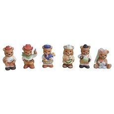 Lot of six Homco Home Interiors Bear porcelain figurines