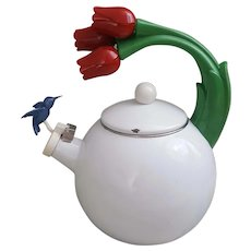 Beautiful and Fun white enamel Hummingbird and Tulips teapot