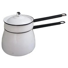 White Enamel Double Boiler with black handles