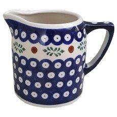 Beautiful Boleslawiec Handmade Polish Pottery small pitcher Mosquito pattern