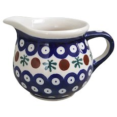 Beautiful Boleslawiec Handmade Polish Pottery creamer Mosquito pattern
