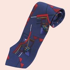 Vintage 1980's  Iasco 100% Silk necktie, geometric designed necktie