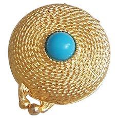 Vintage Estee Lauder perfume compact, 1960's Estee Lauder faux Turquoise and gold tone