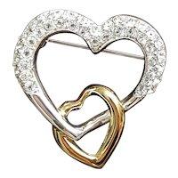 Vintage Napier Rhinestone double heart pin