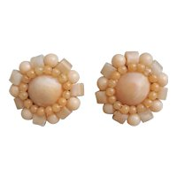 Sweet vintage button style clip on earrings stamped Japan, plastic beaded button earrings