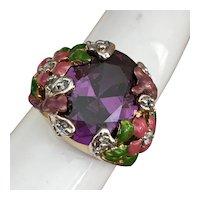 Kirks Folly Amethyst purple type stone Dragon Flies and Flowers Ring