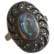Marcasite and Abalone Sterling Silver ring, Size 8 vintage Abalone ring