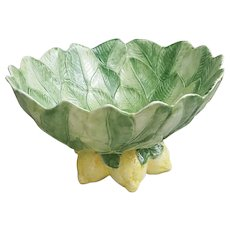 Spectacular Vietri Italy large ceramic serving bowl leaves and lemons