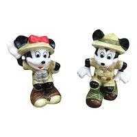 Disney Japan Mickey Mouse and Minnie Mouse Safari figurines