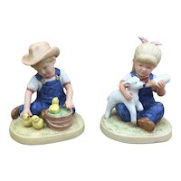 Super cute 1985 Homco Denim Days pair of figurines