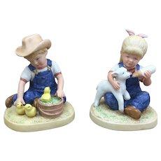 Super cute 1985 Homco Denim Days pair of figurines