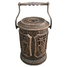 Brentwood wine bucket, faux wood ice wine bucket with grape designs