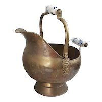 Vintage Brass Scuttle Bucket with Porcelain handles and Lion heads on the side
