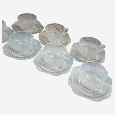 Federal Glass Company Madrid pattern Set of 8 cups and saucers