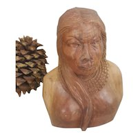 Wood Carved Sculpture Art Native American Woman Head Bust